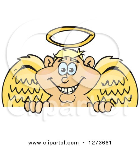 Clipart of a Happy Blond White Male Angel Peeking over a Sign - Royalty Free Vector Illustration by Dennis Holmes Designs