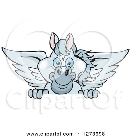 Clipart of a Happy Gray Pegasus Horse Peeking over a Sign - Royalty Free Vector Illustration by Dennis Holmes Designs
