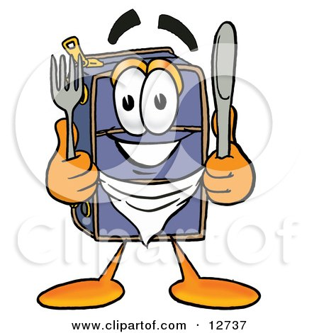 Clipart Picture of a Suitcase Cartoon Character Holding a Knife and Fork by Toons4Biz