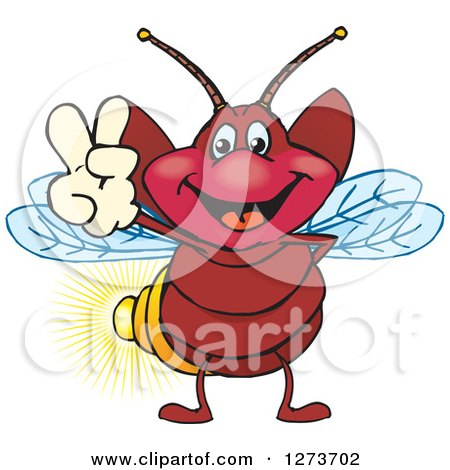 Clipart of a Happy Firefly Gesturing Peace - Royalty Free Vector Illustration by Dennis Holmes Designs