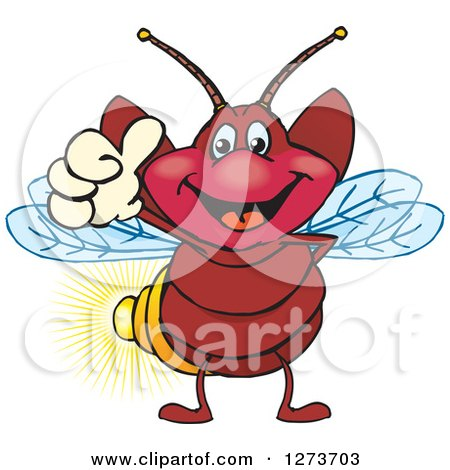 Clipart of a Happy Firefly Giving a Thumb up - Royalty Free Vector Illustration by Dennis Holmes Designs