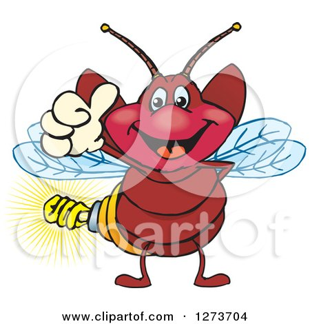 Clipart of a Happy Firefly with a Light Bulb Butt, Giving a Thumb up - Royalty Free Vector Illustration by Dennis Holmes Designs