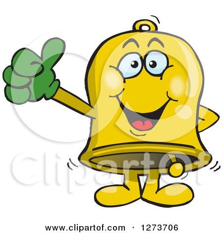 Clipart of a Happy Bell Giving a Thumb up - Royalty Free Vector Illustration by Dennis Holmes Designs