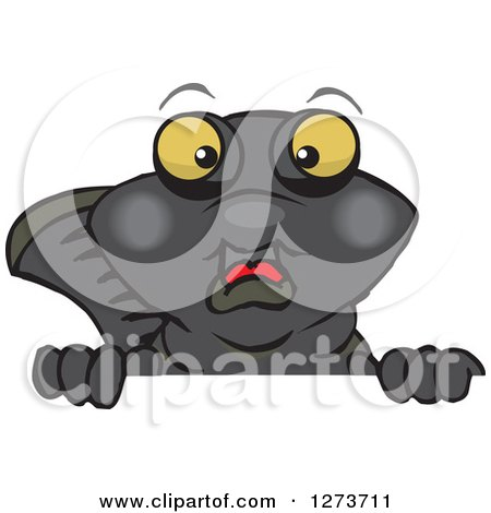 Clipart of a Black Moor Fish Peeking over a Sign - Royalty Free Vector Illustration by Dennis Holmes Designs