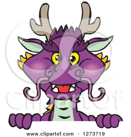 Clipart of a Purple Dragon Peeking over a Sign - Royalty Free Vector Illustration by Dennis Holmes Designs