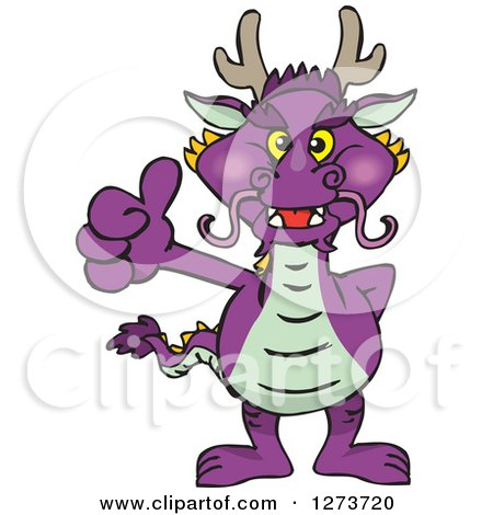 Clipart of a Purple Dragon Giving a Thumb up - Royalty Free Vector Illustration by Dennis Holmes Designs