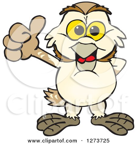 Clipart of a Happy Barn Owl Giving a Thumb up - Royalty Free Vector Illustration by Dennis Holmes Designs