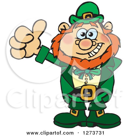 Clipart Of A Happy Leprechaun Giving A Thumb Up Royalty Free Vector Illustration