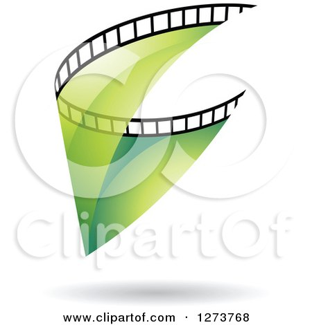 Clipart of a Curve of Transparent Green Film and a Shadow - Royalty Free Vector Illustration by cidepix
