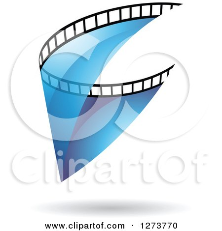 Clipart of a Curve of Transparent Blue Film and a Shadow - Royalty Free Vector Illustration by cidepix