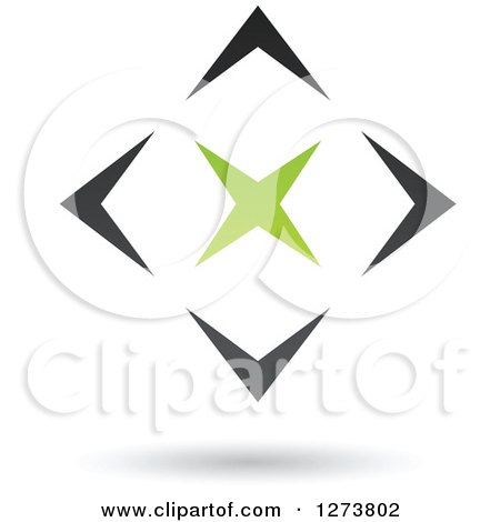 Clipart of a Green Star in a Black Diamond and Shadow - Royalty Free Vector Illustration by cidepix