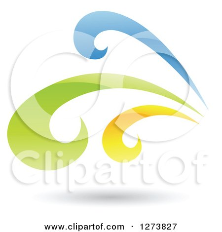 Clipart of a Blue Green and Yellow Splash and Shadow - Royalty Free Vector Illustration by cidepix