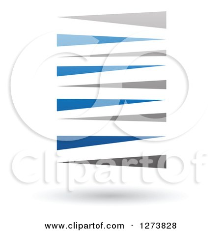 Clipart of a Blue and Gray Stripes Design and Shadow - Royalty Free Vector Illustration by cidepix