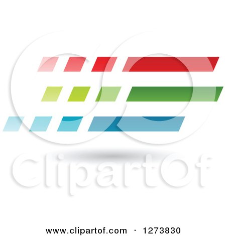 Clipart of a Red Green and Blue Speed Lines and Shadow Design - Royalty Free Vector Illustration by cidepix