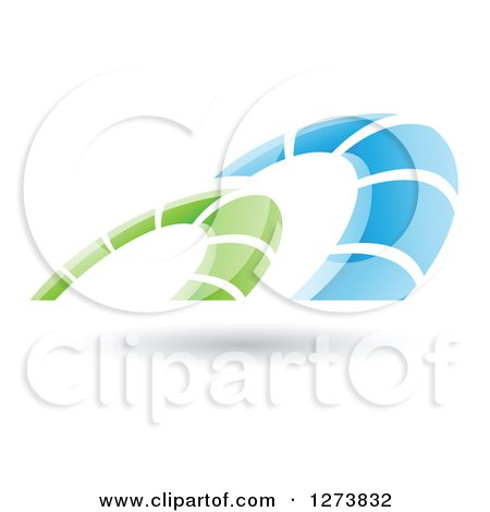 Clipart of a Blue and Green Arches Design and Shadow - Royalty Free Vector Illustration by cidepix