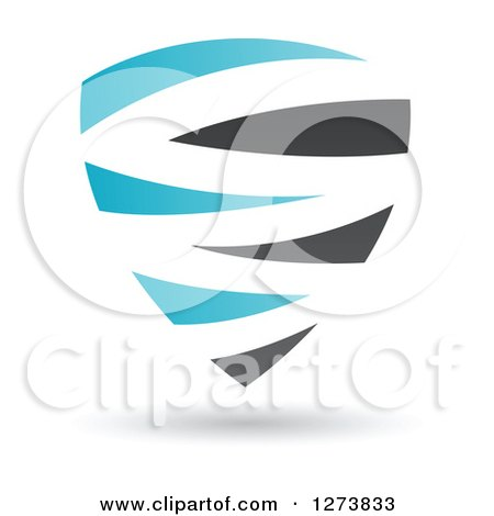 Clipart of a Blue and Black Abstract Shield and Shadow - Royalty Free Vector Illustration by cidepix