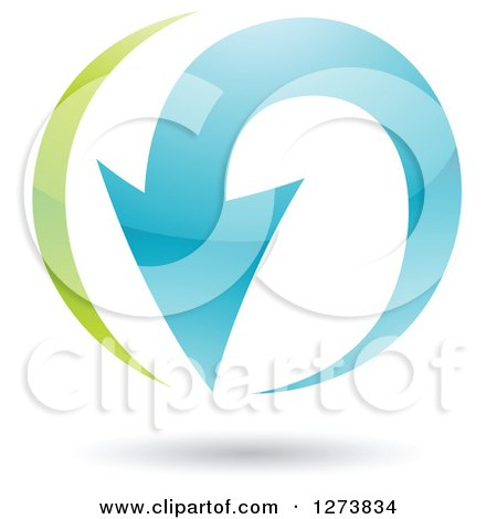 Clipart of a Green and Blue Curving Arrow and Shadow - Royalty Free Vector Illustration by cidepix