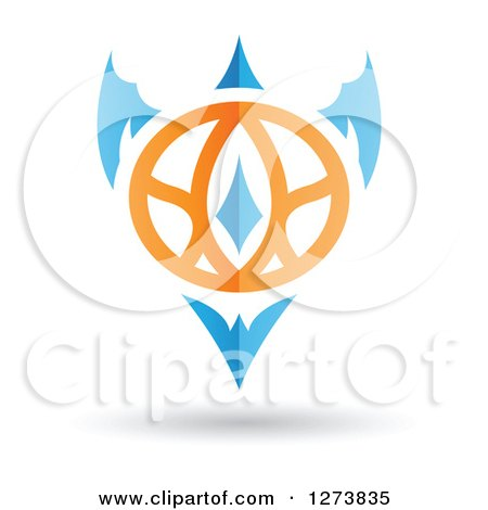 Clipart of a Blue and Orange Abstract Shield Design and Shadow 2 - Royalty Free Vector Illustration by cidepix