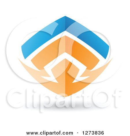 Clipart of a Blue and Orange Abstract Shield Design and Shadow - Royalty Free Vector Illustration by cidepix