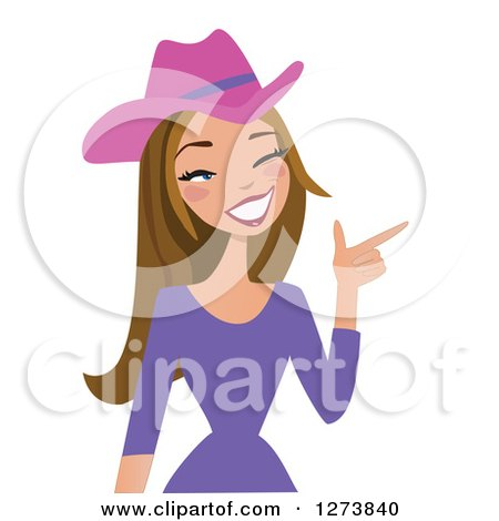 Clipart of a Brunette Caucasian Cowgirl Winking and Pointing - Royalty Free Vector Illustration by peachidesigns