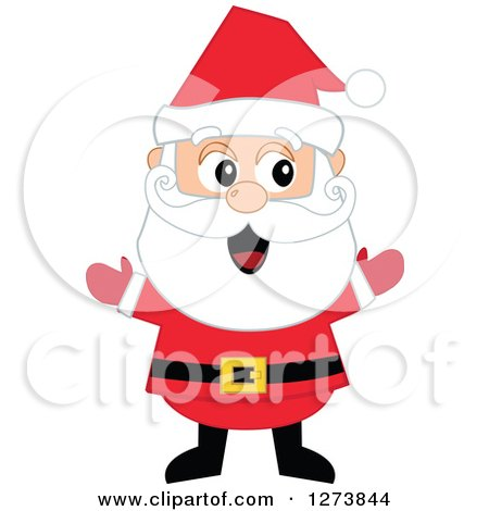 Clipart of a Happy Welcoming Christmas Santa Claus with Open Arms - Royalty Free Vector Illustration by peachidesigns