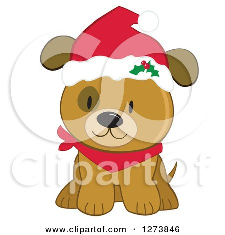 Clipart Of A Caucasian Christmas Girl Wearing A Santa Suit And