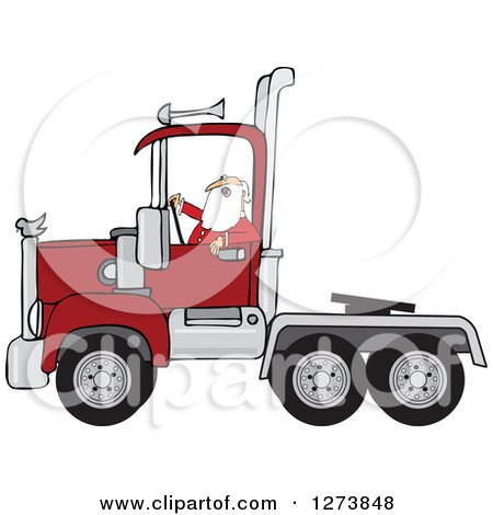 Clipart of Santa Driving a Christmas Big Rig Truck - Royalty Free Vector Illustration by djart