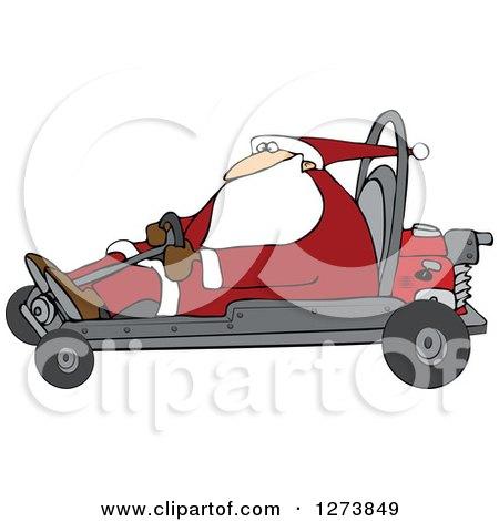 Clipart of Santa Driving a Christmas Go Kart - Royalty Free Vector Illustration by djart