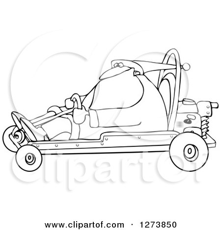 Clipart of a Black and White Santa Driving a Christmas Go Kart - Royalty Free Vector Illustration by djart