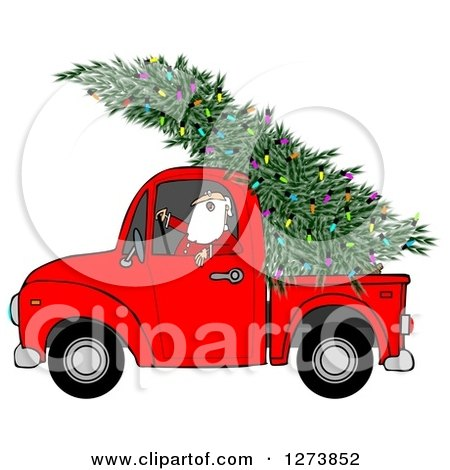 Clipart of Santa Driving a Fresh Cut Christmas Tree with Lights in a Red Pickup Truck - Royalty Free Illustration by djart