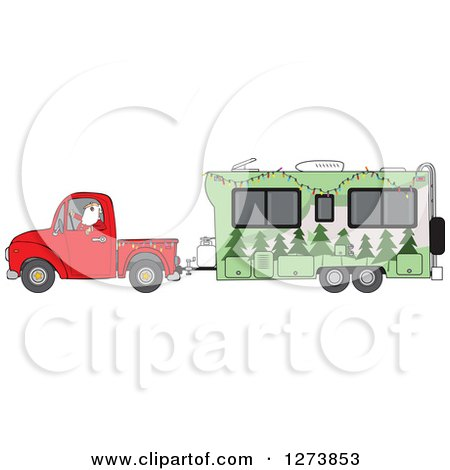 Green Rv Motorhome Ready For Camping Use Clip Art Illustration by ...