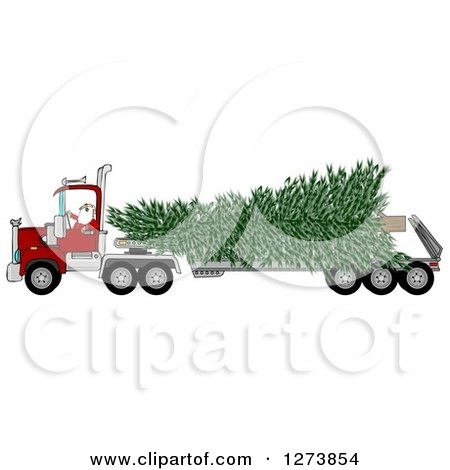 Clipart of Santa Driving a Big Rig Truck with a Huge Christmas Tree - Royalty Free Vector Illustration by djart