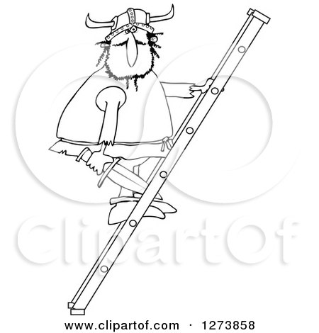 Clipart of a Black and White Viking Man Holding a Sword and Climbing a Ladder - Royalty Free Vector Illustration by djart