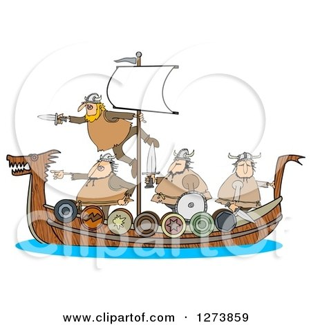 Clipart of Viking Men Geared for War on a Boat - Royalty Free Illustration by djart