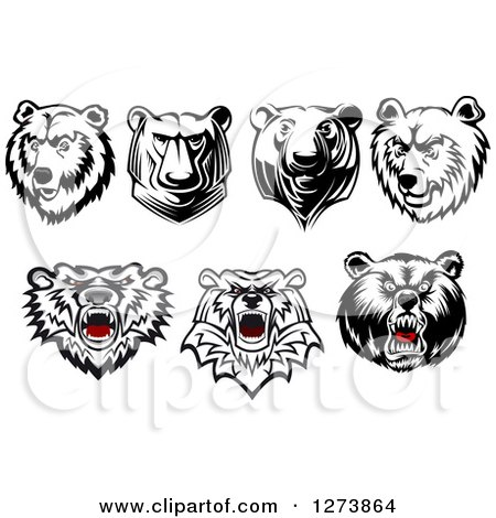 Clipart of Bear Heads - Royalty Free Vector Illustration by Vector Tradition SM
