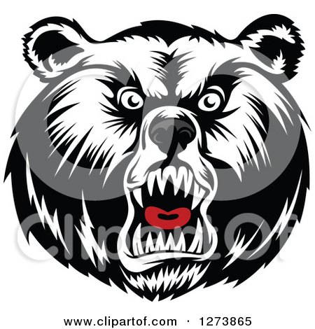 Clipart of a Black and White Angry Bear Face with a Gray Nose and Red Tongue - Royalty Free Vector Illustration by Vector Tradition SM