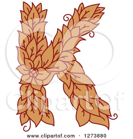 Clipart of a Floral Capital Letter K with a Flower - Royalty Free Vector Illustration by Vector Tradition SM