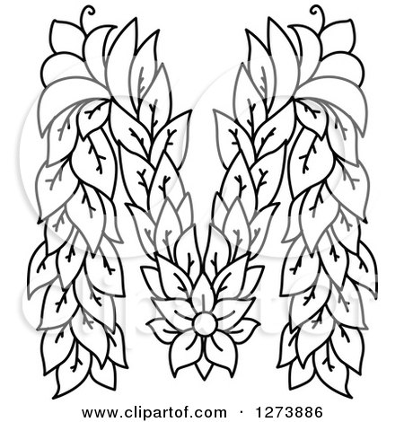 Clipart Of A Black And White Floral Capital Letter M With A Flower