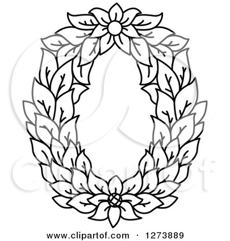 Clipart Of A Black And White Floral Capital Letter O With A Flower