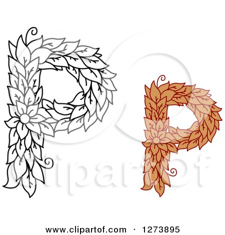 Clipart Of Black And White Colored Floral Capital Letter P Designs
