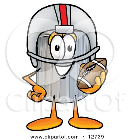 Clipart Picture of a Garbage Can Mascot Cartoon Character in a Helmet, Holding a Football by Toons4Biz