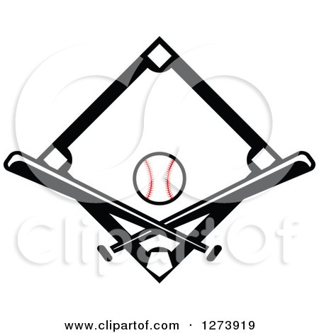 Clipart Of A Black Baseball Diamond With A Ball And Crossed Bats Royalty Free Vector Illustration