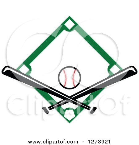 Clipart of a Green Diamond with a Baseball and Crossed Bats - Royalty Free Vector Illustration by Vector Tradition SM