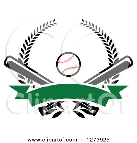 Clipart of a Baseball and Crossed Bats with a Blank Green Banner and Wreath - Royalty Free Vector Illustration by Vector Tradition SM