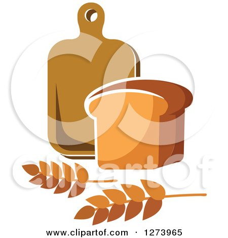 Clipart of a Loaf of Bread, Wheat and Cutting Board - Royalty Free Vector Illustration by Vector Tradition SM