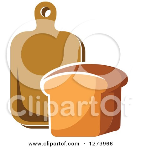 Clipart of a Loaf of Bread and Cutting Board - Royalty Free Vector Illustration by Vector Tradition SM