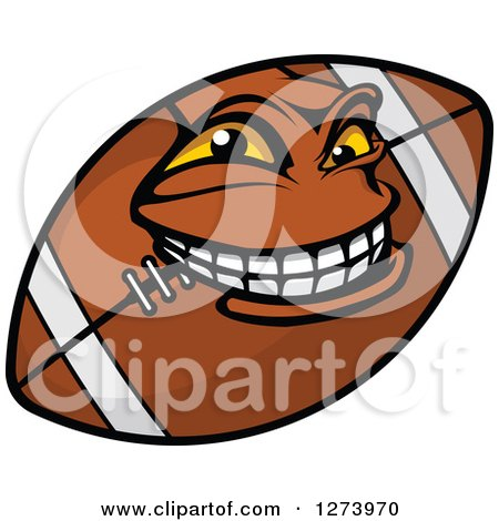Clipart Of A Grinning American Football Character Royalty Free Vector Illustration