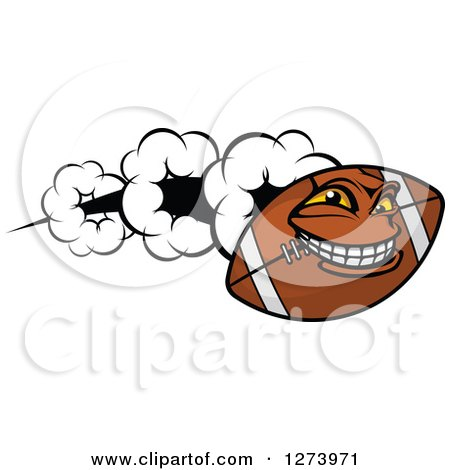 Clipart of a Flying American Football Character - Royalty Free Vector Illustration by Vector Tradition SM