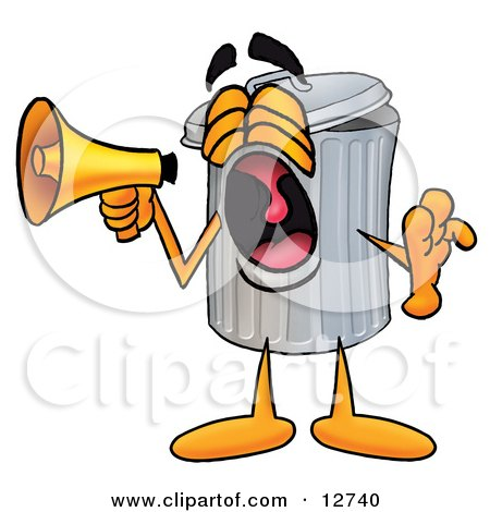 Clipart Picture of a Garbage Can Mascot Cartoon Character Screaming Into a Megaphone by Toons4Biz