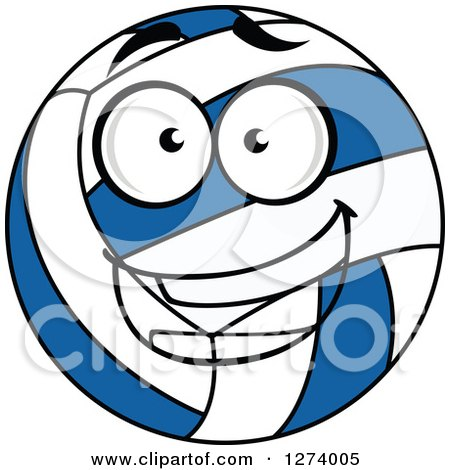 Clipart of a Happy Blue and White Volleyball - Royalty Free Vector Illustration by Vector Tradition SM